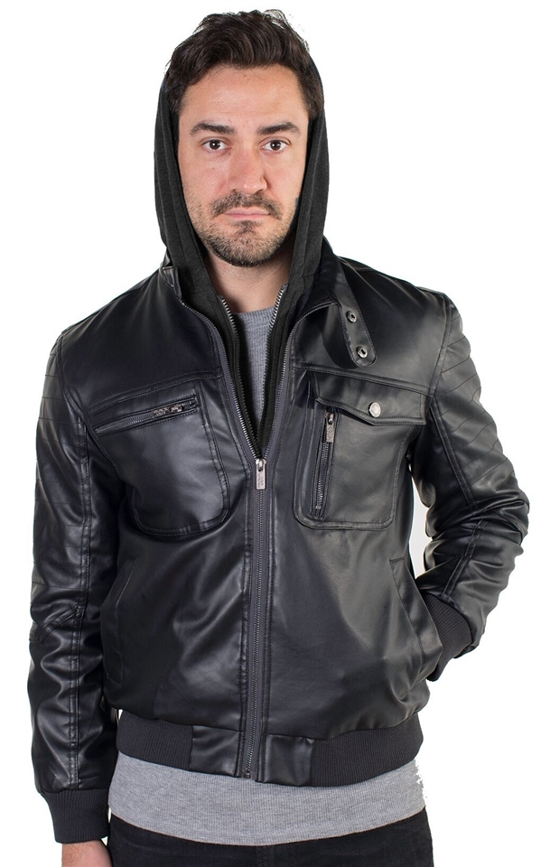 eb1a532a7 Men's Faux Leather Jacket with Hoodie