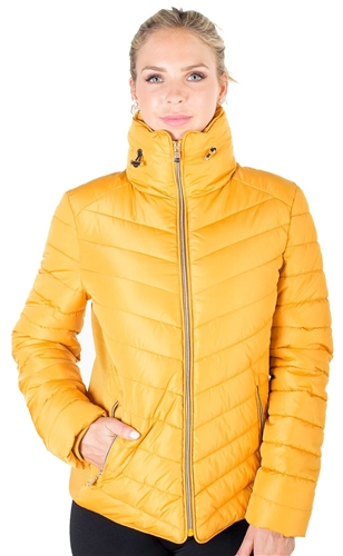 Ladies High Collar Quilted Puffer Jacket with Faux Fur Inner Collar and Body Lining and Stretchable Side Gathering