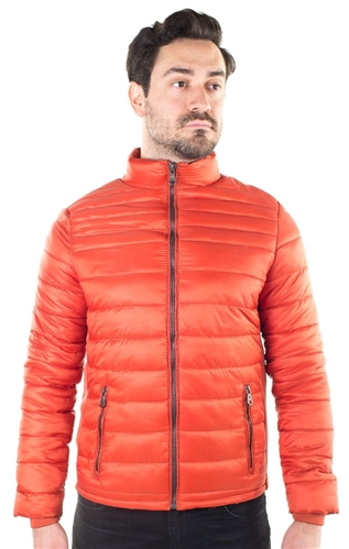 Men's Quilted Puffer Jacket with Faux Fur Body Lining and Stretchable Side Gathering