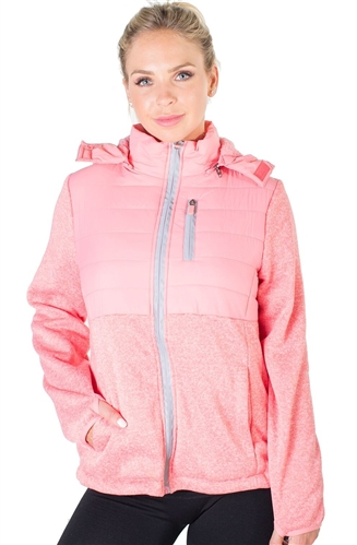 Ladies Zip Up Faux Fur Lined Jacket w/ Removable Double Faux Fur Hood, and 2 Front Pockets By Special One