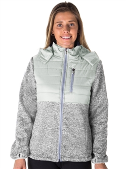 Ladies Zip Up Faux Fur Lined Jacket w/ Removable Double Hood, and 2 Front Pockets By Special One