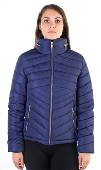 Ladies Faux Fur Lined Liz Jacket w/ High Collar, Hooded, Zip Up, PU Piping & zip Front Pockets
