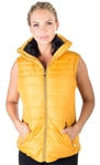 Ladies High Collar Quilted Vest with Stretchable Side Gathering