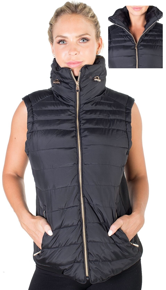4184n 2ds07vx Black Ladies Plus Size High Collar Quilted Vest With Faux Fur Inner Collar And Body Lining And Stretchable Side Gathering By Special
