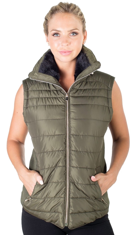 93ddd0a7e69 Ladies Plus Size High Collar Quilted Vest with Faux Fur Inner Collar and  Body Lining and