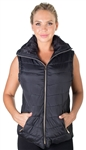 Ladies Plus Size High Collar Quilted Vest with Faux Fur Inner Collar and Body Lining and Stretchable Side Gathering