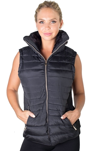 Ladies High Collar Quilted Vest with Faux Fur Inner Collar and Body Lining and Stretchable Side Gathering