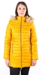 Ladies Faux Fur Lined Long Jacket, Zip Up, Detachable Hood, Elastic Side Gathering w/ 2 Front Pocket