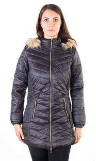 Ladies Faux Fur Lined Long Jacket, Detachable Hood, Elastic Side Gathering w/ 2 Front Pocket By Special One