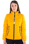 "Women's Puffer Jacket with ""New York"" Print and Mock Zipper on Collar Design"