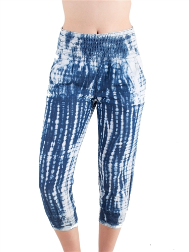 Women's Tie Dye Capri Pants with Smocked Leg and Waist Cuffs