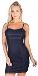 Ladies Bustier Inspired Fitted Denim Dress