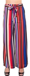 Ladies Striped Palazzo Pants with Drawstring Waist