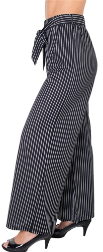 Ladies Plus Size Striped Palazzo Pants with Drawstring Waist