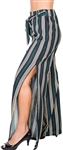 Ladies Striped Palazzo Pants with Drawstring Waist and Slit 2 sides