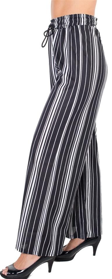 0419f968764e Ladies Striped Palazzo Pants with Drawstring Waist