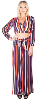 Ladies Striped Palazzo Pants With Slit and Surplice Top Set