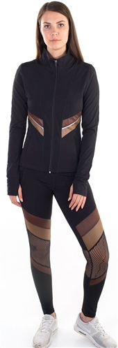 Women's Active Set Jacket and Leggings with Mesh and Blocking Contrast Effect