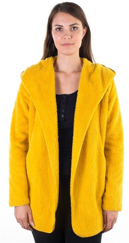Ladies Teddy Faux Shearling Hooded Jacket