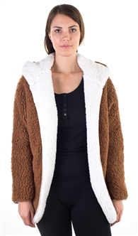 Ladies Teddy Faux Shearling Hooded Reversible Jacket
