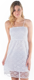 Women's Sleeveless Smock Sun Dress with Lace Details