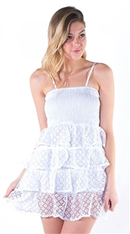 Women's Mini Smock Sun Dress with Lace Tiered Ruffled Skirt