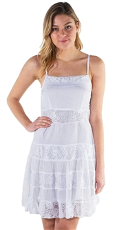 Women's Sleeveless Mini Dress with Lace Designs and Square Neckline