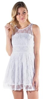 Women's Sleeveless Sheer Lace Overlay Dress