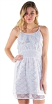 Women's Sleeveless Sheer Lace Overlay Dress with Flounce Layer