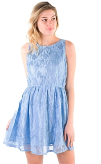 Women's Sleeveless Mini Sun Dress with Lace Details