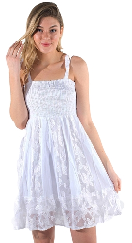 Women's Lace Up Strap Mini Smock Sun Dress with Lace Details