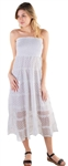White-Women's Strapless Smock Midi Sun Dress with Lace Details
