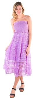 Women's Strapless Smock Midi Sun Dress with Lace Details