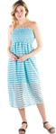 Women's Strapless Smock Midi Sun Dress with Striped Lace Details