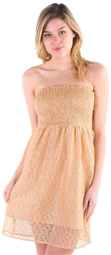 Women's Strapless Mini Smock Sun Dress with Lace Details
