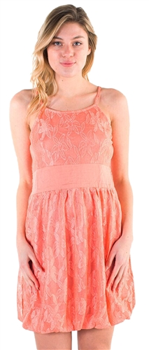 Women's Sleeveless Mini Bubble Dress with Lace Details
