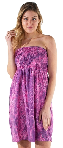 Women's Strapless Smocked Mini Dress with Pink and Purple Abstract Design