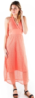 Women's Plunging Halter Midi Sun Dress with Lace Details