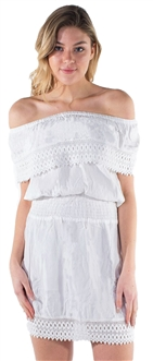 Women's Off Shoulder Sun Dress with Embroidery Detailing