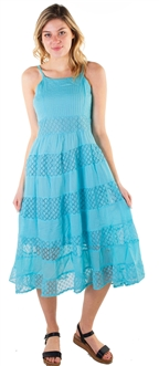 Red-Women's Sleeveless Midi Sun Dress with Lace Details