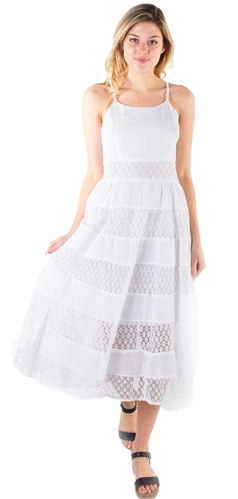 Women's Sleeveless Midi Sun Dress with Lace Details
