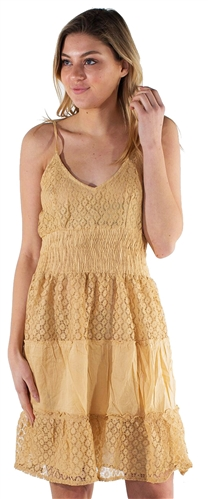 Women's Sleeveless Lace Mini Dress with V Neckline