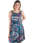 Women's Abstract Print Sleeveless Dress with Elasticized Waist