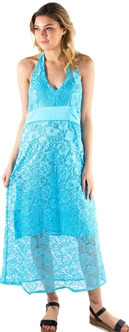 Women's Halter Neck with Tie Midi Sun Dress with Lace Details
