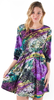 Women's Solid 3/4 Kimono Sleeves Shift Dress
