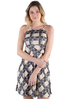 Women's Sleeveless Dress with Elasticized Waist