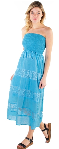 Women's Strapless Midi Smock Sun Dress with Lace Details
