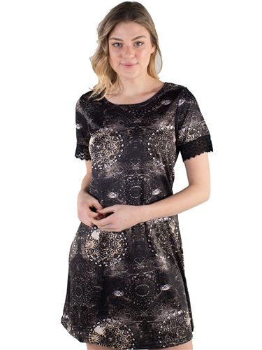 Women's All-over Printed Abstract Dress with Lace Trimming on Sleeves