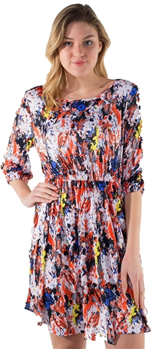 Women's Abstract Print 3/4 Sleeves Dress with Elasticized Waist