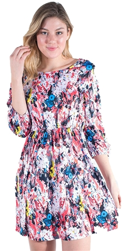 -Women's Abstract Print 3/4 Sleeves Dress with Elasticized Waist